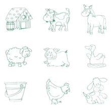 Játék nyomda és fogantyús puzzle - háziállatok - fajáték