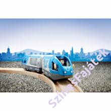 Brió elemes utaszállító vonat fa sínnel