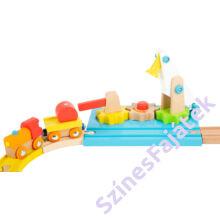 Fa vonat szett daruval- színes