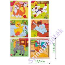fa kocka kirakó - fajáték - Háztáji állatok - 12,5x12,5 cm - 90922 - 2x2 darabos