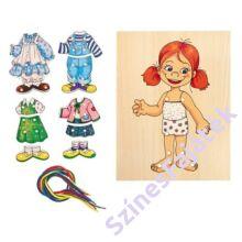 Fa öltöztetős játék, kézügyesség fejlesztő játék - Kislány