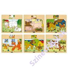 Fa puzzle, fa kirakó - Állatok és kicsinyeik - Cicák