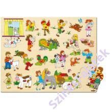 Woody fa fogantyús puzzle - Élet a tanyán