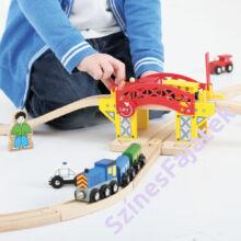 felnyitható híd sorompóval fa vonat sínekhez