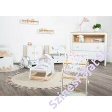 Játék baba bölcső - babaágy baldachinnal, ágyneművel