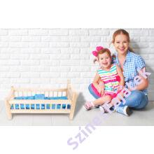Játék babaágy ágyneművel - natúr