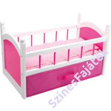 Játék babaágy ágyneműtartóval és ágyneművel - rózsaszín