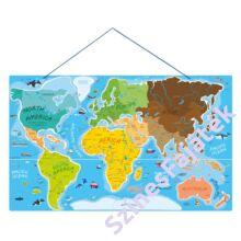 Mágneses világtérkép - 3 az 1-ben kirakós fejlesztő fajáték