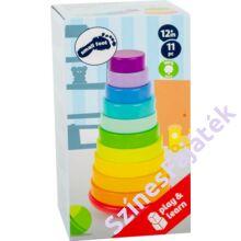 Montessori torony -  szivárvány színű fajáték