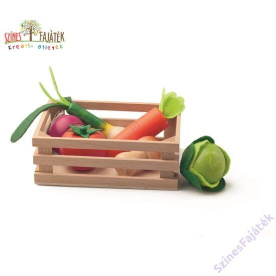 fajáték, fából készült zöldségek