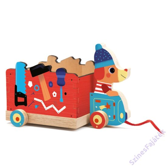 Djeco fa húzogatós játék - Kutyus a szerelőkocsival