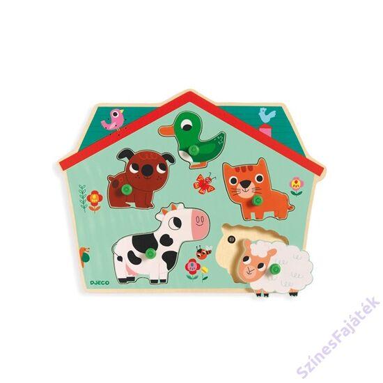 Djeco fogantyús puzzle - farm állatai - DJ01107