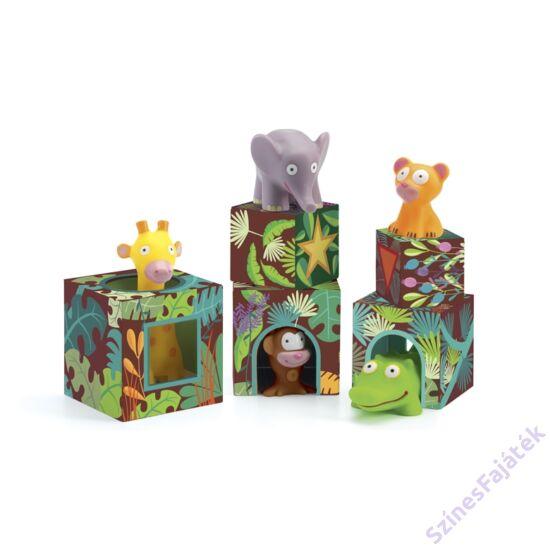Djeco toronyépítő kockák - Dzsungel állatok MAXI