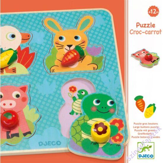 Djeco fogantyús puzzle - vidám állatkák - fajáték