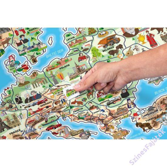 Mágneses Európa térkép puzzle - 3 az 1-ben kirakós fejlesztő fajáték