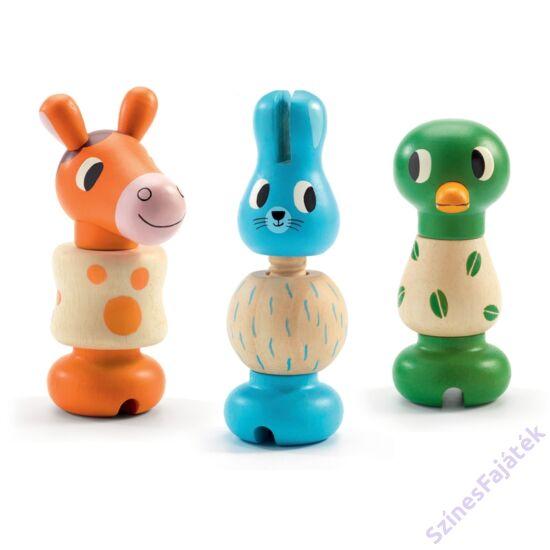 Montessori csavarós fa játék - Csacska állatok