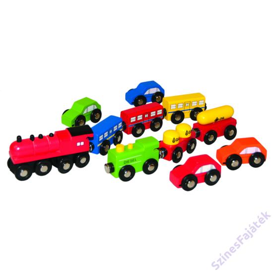 fa vonatok és fa autók fa vonathoz