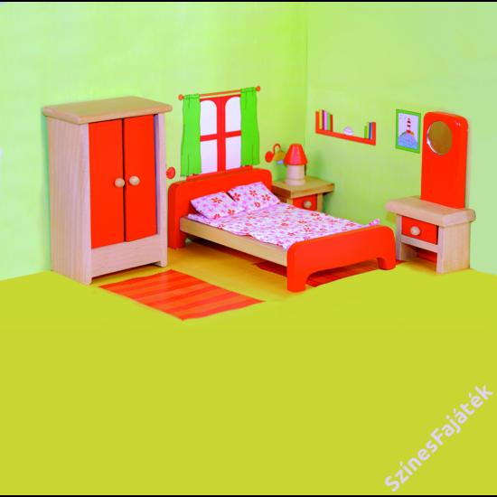 játék hálószoba fából babaház kiegészítő