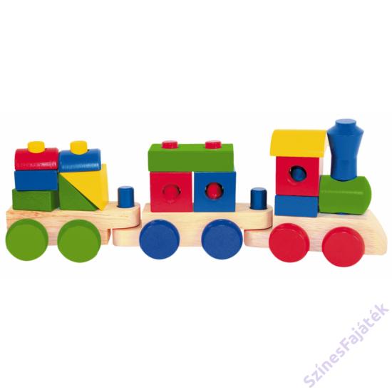 húzható építős fa vonat