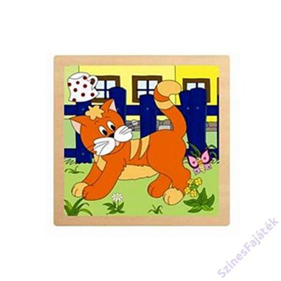 fogantyús baba puzzle - Kiscica -  4 darabos puzzle fajáték