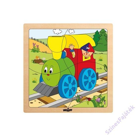 fogantyús baba puzzle - vidám mozdony - 4 darabos puzzle fajáték