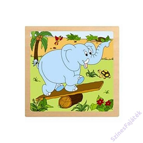 fogantyús baba puzzle -Elefánt - 4 darabos puzzle fajáték