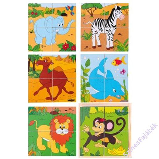 fa kocka kirakó - fajáték - Szafari állatok - 12,5x12,5 cm - 90921 - 2x2 darabos