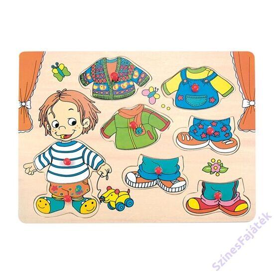 Fa öltöztetős játék - fogantyús puzzle - kisfiú -
