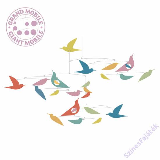 Djeco függődísz - gyerekszoba dekor - Repkedő színes madarak