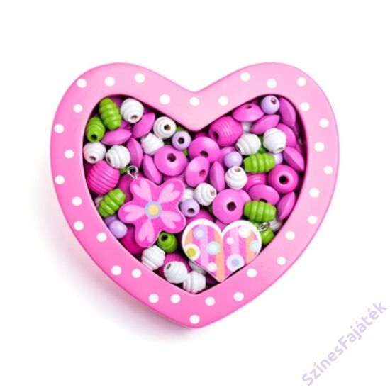 Gyöngyfűző készlet - rózsaszín szivecske