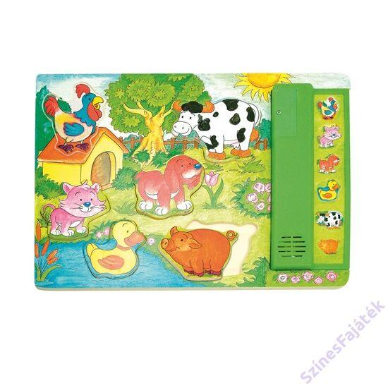 háziállatok a kertben formaválogató puzzle hagokkal