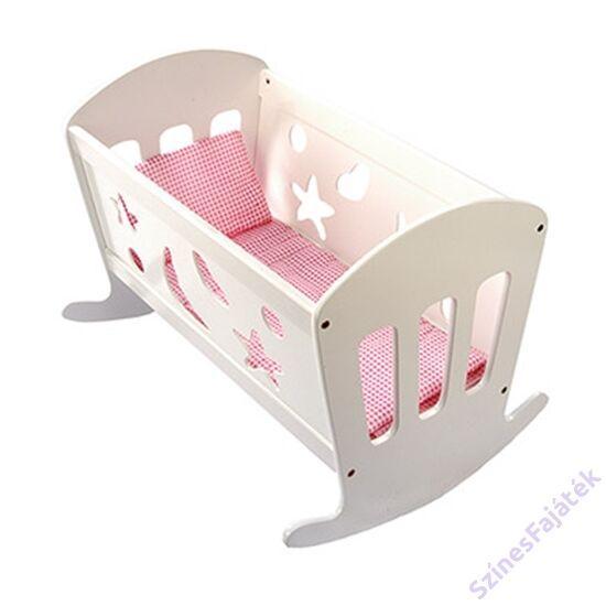 fa játék babaágy játék bölcső ágyneművel