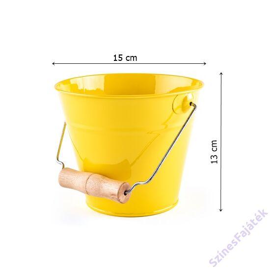 játék fém homokozóvödör- sárga