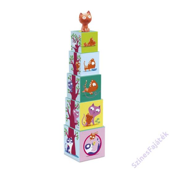 Djeco Toronyépítő kocka - Cica és a fa