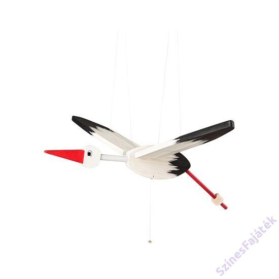Gyerekszoba dekoráció - fehér fa függő gólya