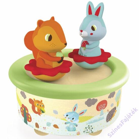 Djeco Zenedoboz - Mozgó figurás - Nyuszi és mókus